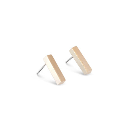 Gold Satin Bar Stud Earrings