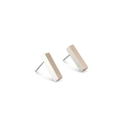Silver Satin Bar Stud Earrings