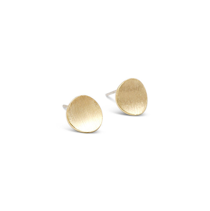 Gold Satin Curved Dot Stud Earrings