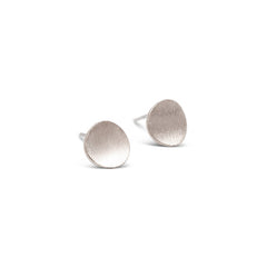 Sterling Silver Satin Curved Dot Stud Earrings
