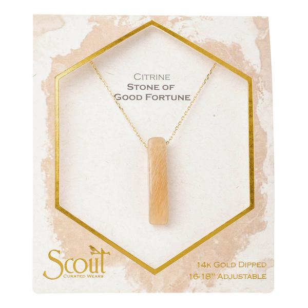 Scout Curated Wears Gold Citrine Stone of Good Fortune Point Necklace
