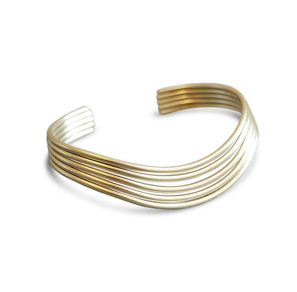 Gold Satin Wave Bangle