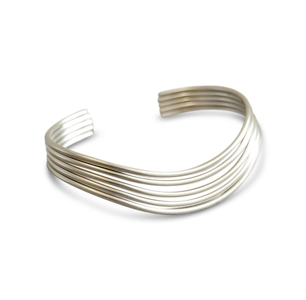 Silver Satin Wave Bangle