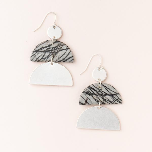 Scout Curated Wears Silver Picasso Jasper Stone Half Moon Earrings
