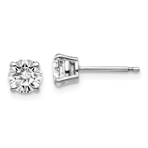 5mm 10K White Gold Moissanite Stud Earrings