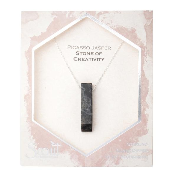 Scout Curated Wears Silver Picasso Jasper Stone of Creativity Point Necklace