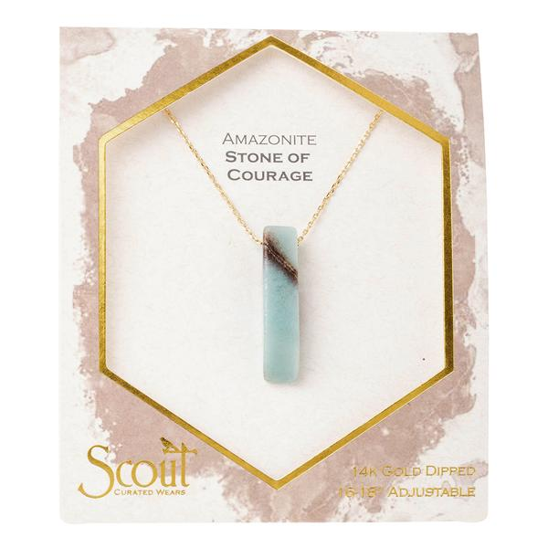 Scout Curated Wears Gold Amazonite Stone of Courage Point Necklace