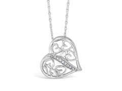 Sterling Silver .08ct Diamond Heart Necklace