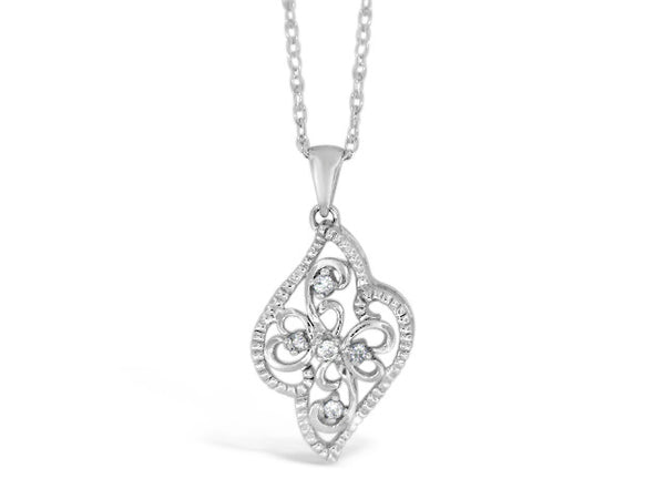 Sterling Silver .06ct Diamond Filigree Necklace