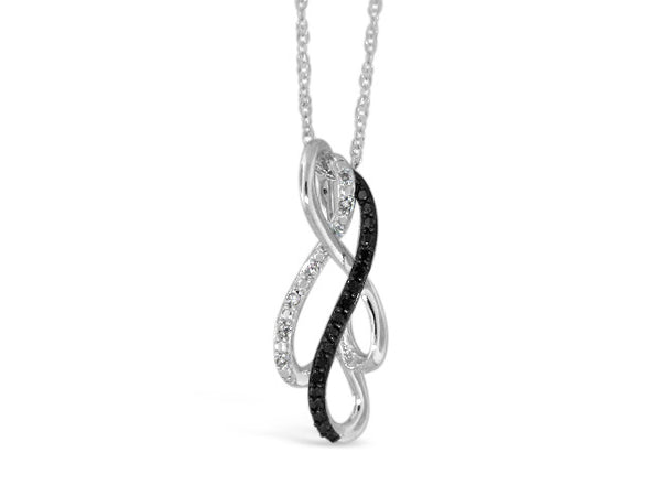 Sterling Silver .10ct Black Diamond Necklace