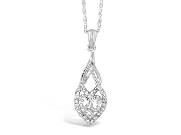 Sterling Silver .10ct Filigree Diamond Necklace