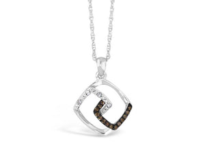 Sterling Silver .10ct Chocolate Diamond Necklace