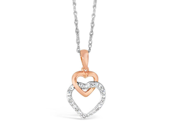 Sterling Silver & 10k Rose .05ct Diamond Heart Necklace
