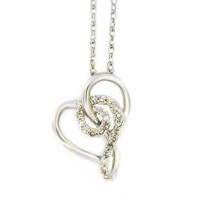 Sterling Silver .13ct Twisted Diamond Heart Necklace