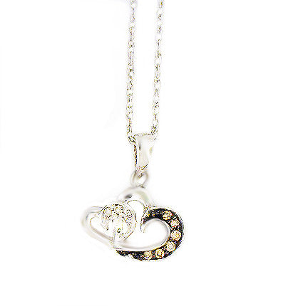 Sterling Silver .05ct Chocolate Diamond Heart Necklace