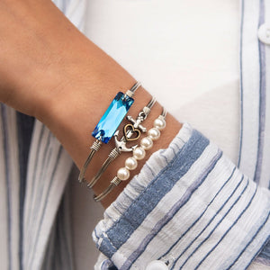 Anchor Silver Bangle Bracelet