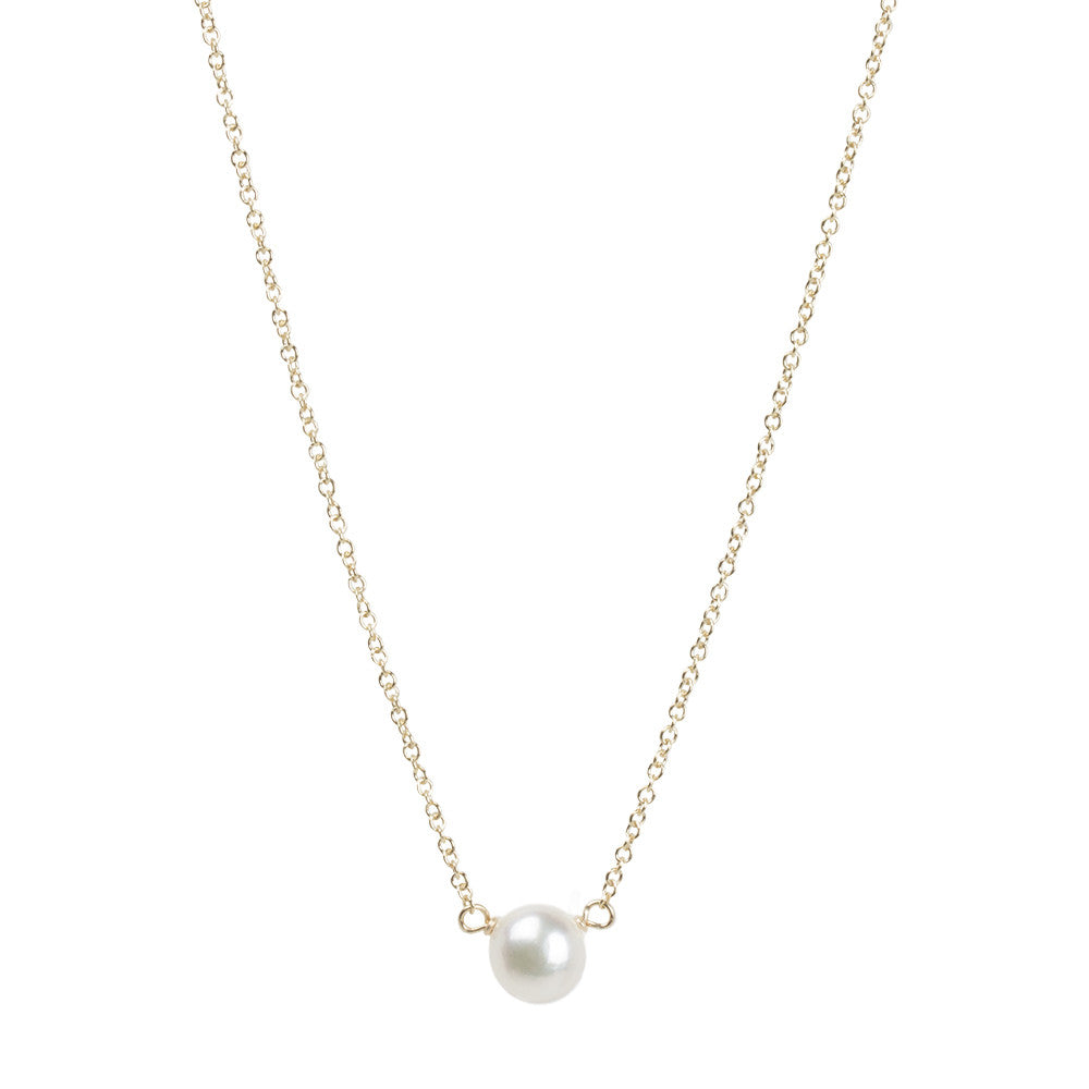 "Sterling Silver 16"" Bridesmaid White Pearl Necklace"