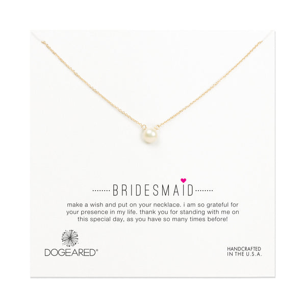 "Gold Dipped 16"" Bridesmaid White Pearl Necklace"