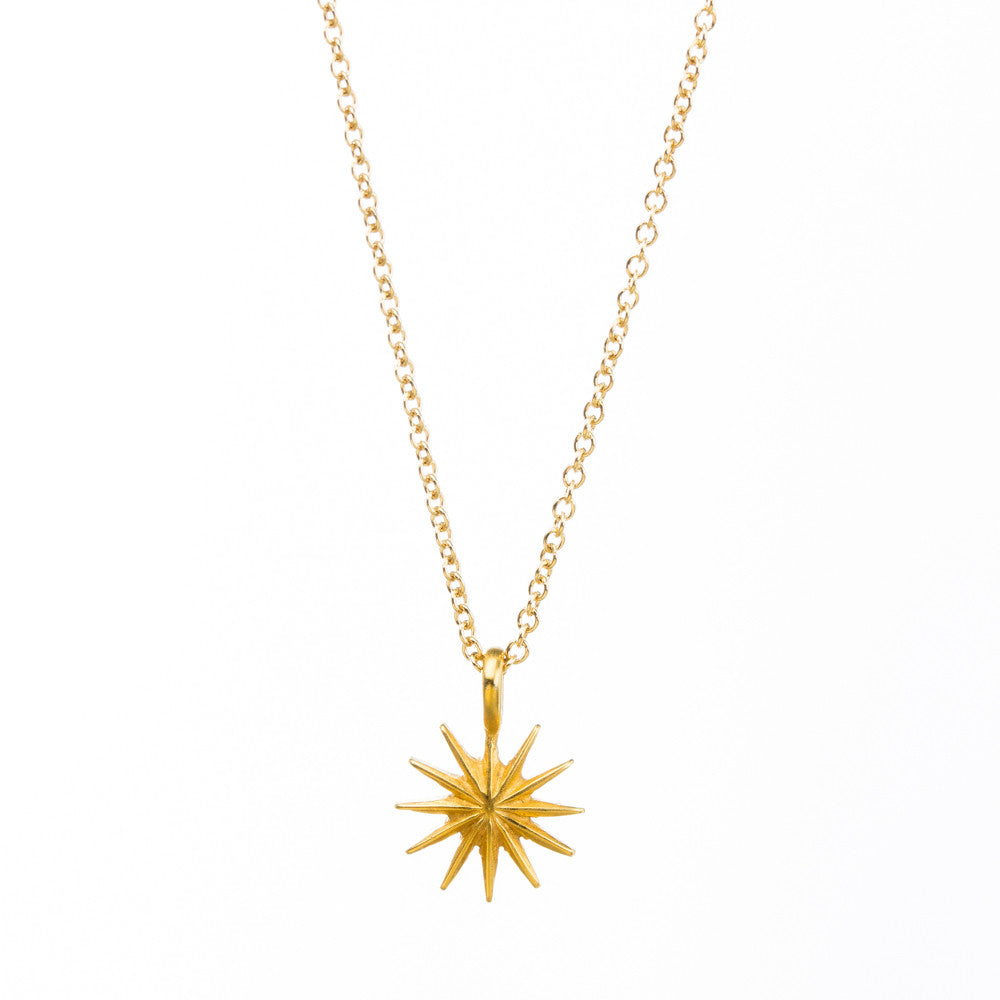 "Gold Dipped 16"" Thank You Starburst Necklace"