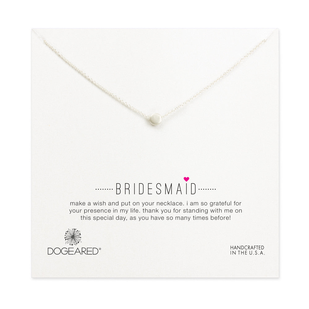 "Sterling Silver 16"" Bridesmaid Circle Necklace"