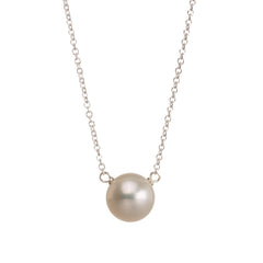 "Sterling Silver 16"" Flower Girl White Pearl Necklace"