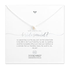 "Sterling Silver 16"" Will You Be My Bridesmaid White Pearl Necklace"