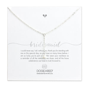 "Sterling Silver 16"" Bridesmaid Little Y Pearl Necklace"