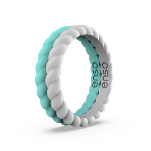 Braided Stackable Misty Grey and Turquoise Silicone Ring Set