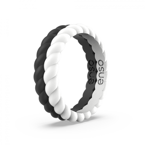Braided Stackable Obsidian and White Silicone Ring Set