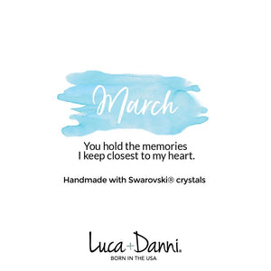 March Birthstone Silver Bangle Bracelet