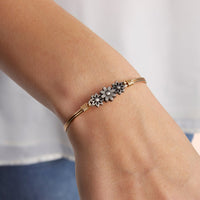 Daisy Silver Bangle Bracelet