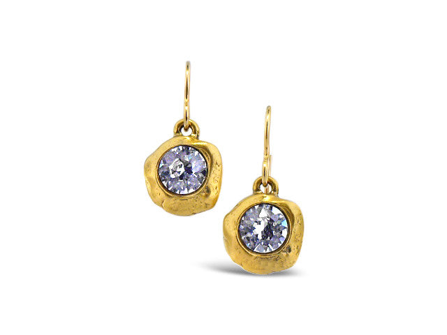 Gold Cave Star Crystal Earrings