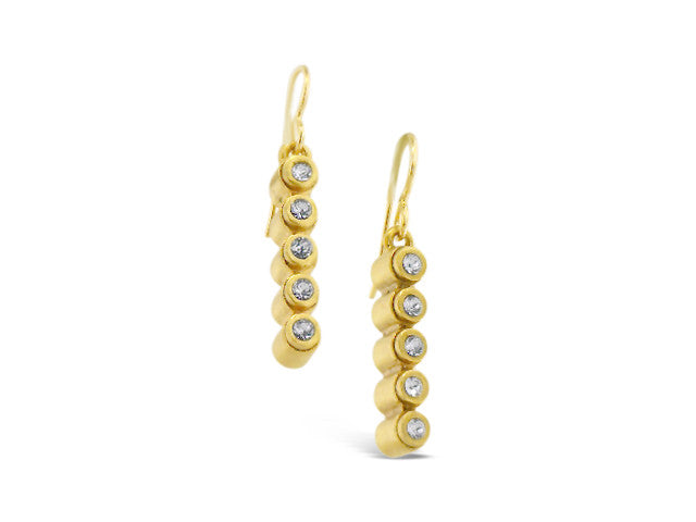 Gold Five Cylinder Crystal Earrings