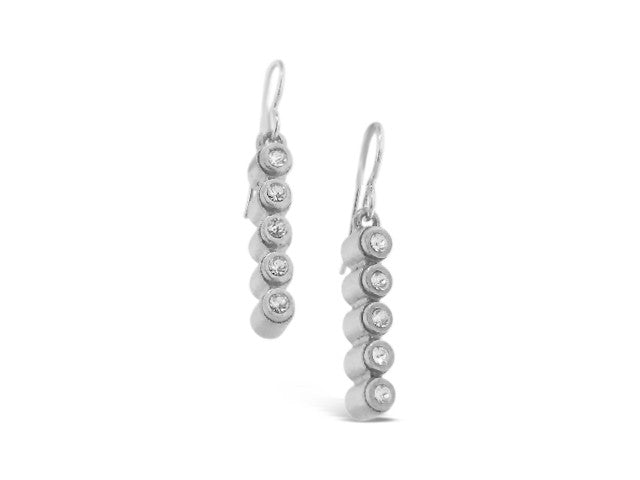 Silver Five Cylinder Crystal Earrings