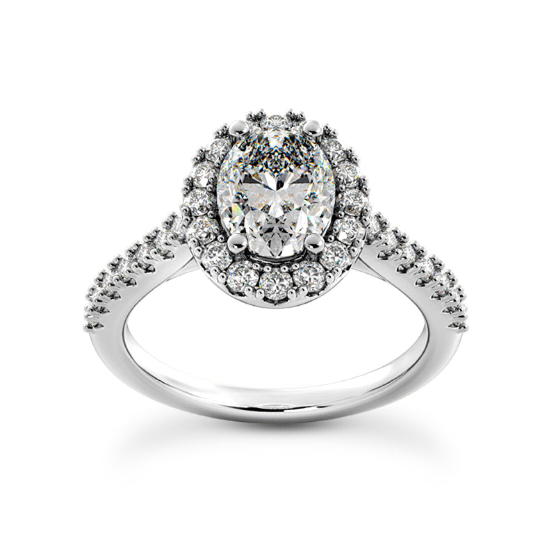 Oval Halo Engagement Ring with Side Stones