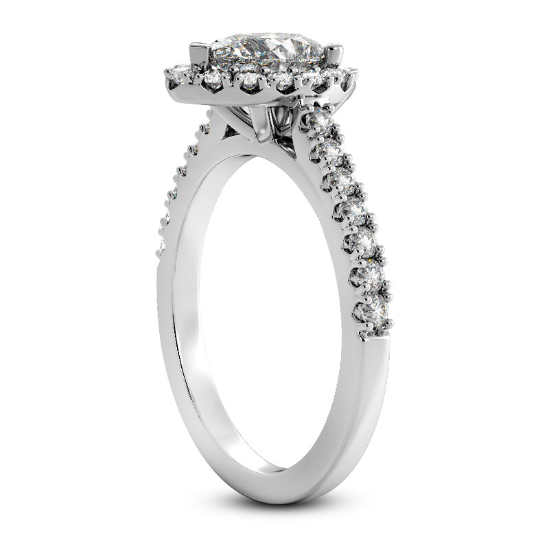 Pear Halo Engagement Ring with Side Stones