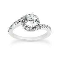 Nespoli Jewelers 14k White Gold Round Halo Engagement Ring 1297