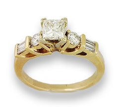 14kt Yellow Gold Princess Engagement Ring