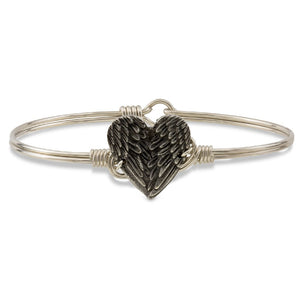 Luca and Danni Angel Wing Heart Silver Bangle Bracelet