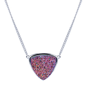Silver Rainbow Red Druzy Trillion Necklace