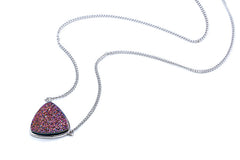Silver Black Druzy Trillion Necklace