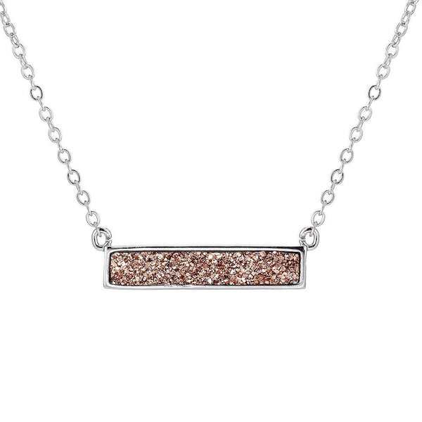 Silver Rose Gold Druzy Bar Necklace
