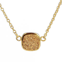 Gold Druzy Square Necklace
