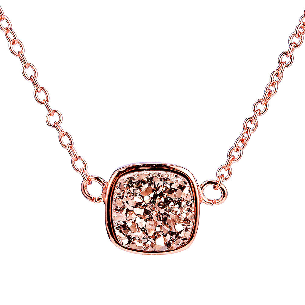 Rose Gold Druzy Square Necklace