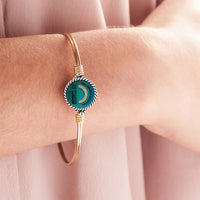Rainbow Mood Mantra Brass Bangle Bracelet