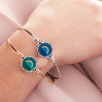 Rainbow Mood Mantra Silver Bangle Bracelet