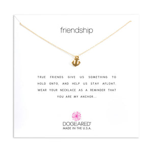 "Gold Dipped 16"" Friendship Anchor Necklace"