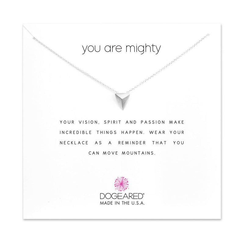 Sterling Silver You are Mighty Pyramid Necklace