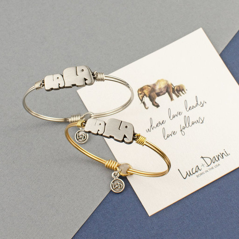 Mama Elephant Brass Bangle Bracelet