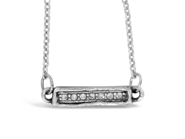 "16"" Silver Chaser Crystal Necklace"
